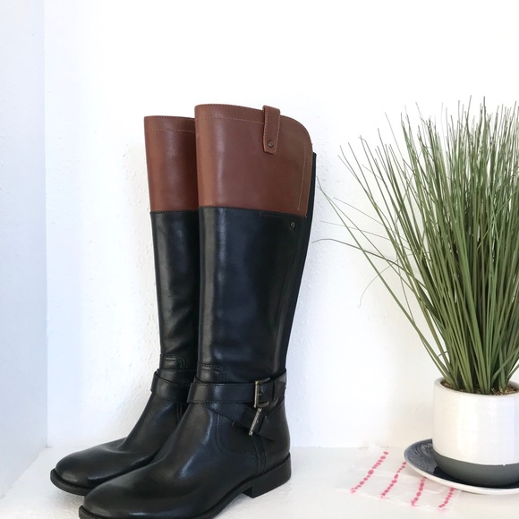 Marc Fisher Shoes - Marc Fisher Black/Cognac Leather Riding Knee Boots